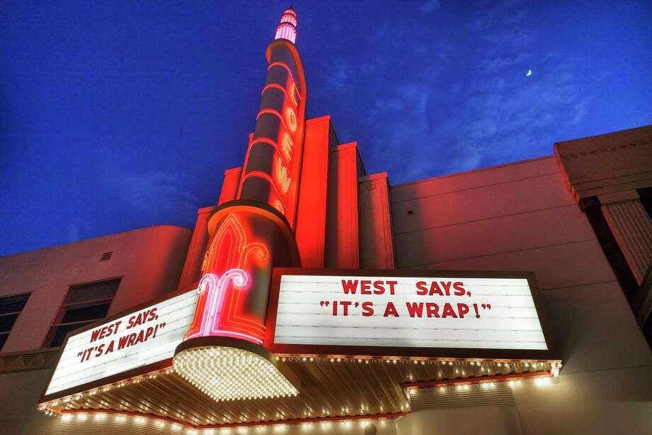 A marquee features one of Howard West's favorite sayings at the Memorialpalooza that Dayna West gave for her late father at the Sony Pictures Studio in 2015. Photo: Photo For The Washington Post By Spike Mafford. / Copyright: Spike Mafford Photography