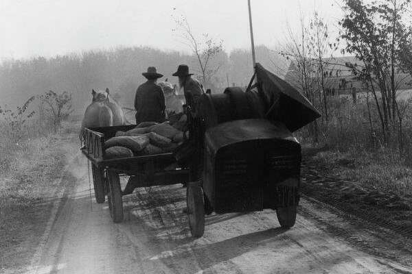 Two Amish farmers drive their horse-drawn wagon loaded with cement, towing a cement mixer, down a country road near Gladwin. November 1982