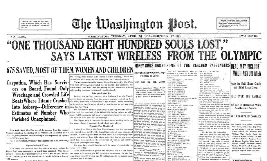 The front page of The Washington Post on April 16, 1912, the day after the Titanic sank. Photo: The Washington Post / The Washington Post