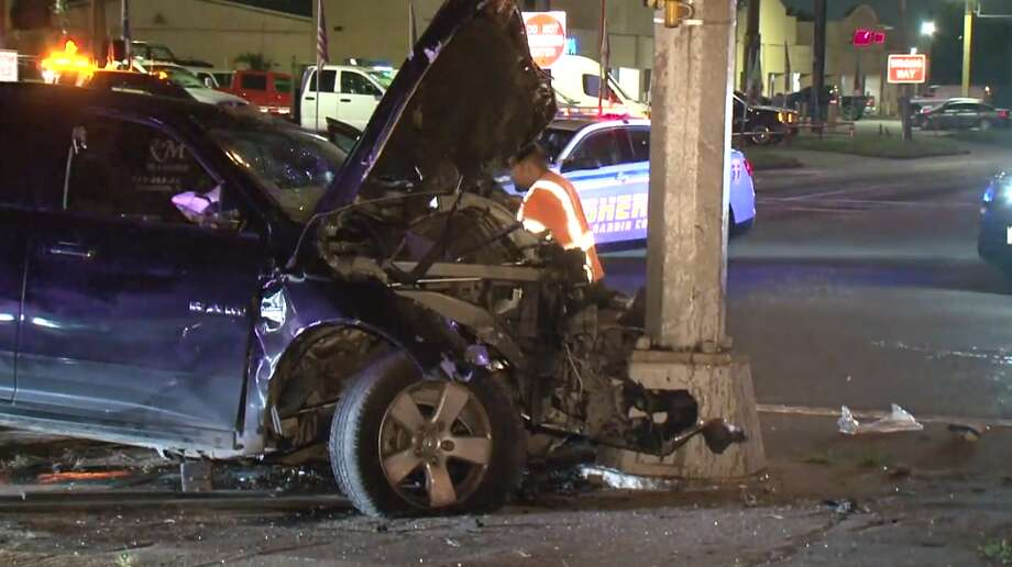 Both vehicles involved in a hit-and-run Monday morning fled the scene of the crash in north Houston, where one of the cars caused a second hit-and-run crash nearby. Photo: Metro Video