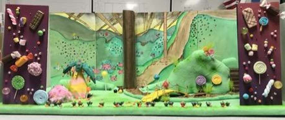 """Sydney Chambers-Oller came up with a candy wonderland in her clay model for a set design of an imaginary staging of Roald Dahl's """"Charlie and the Chocolate Factory."""""""