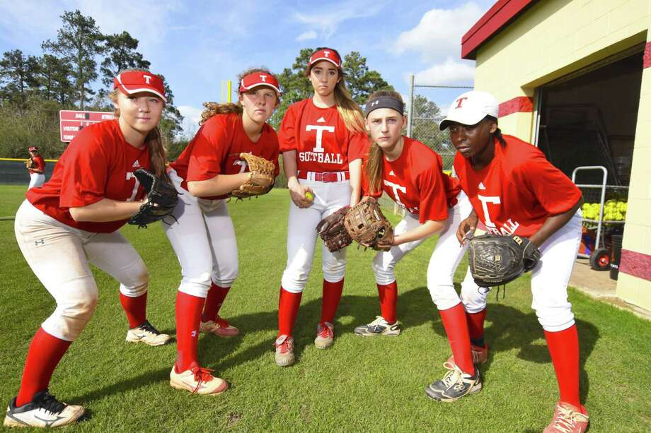 Tomball softball's team core strength comes from players like pitcher Jeryn Cook, first baseman Taylor Spexarth, pitcher Cate Boyd, third baseman Amanda Skivington and shortstop Imani Edwards. Photo: Tony Gaines/ HCN, Staff / HCN / Houston Chronicle