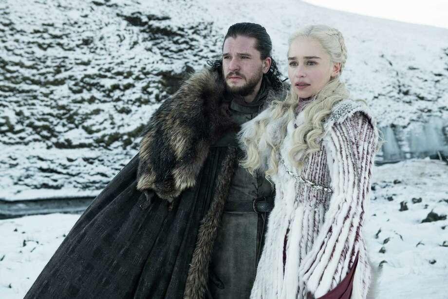 Kit Harington and Emilia Clarke. Photo: Photo By Helen Sloane/HBO / Handout