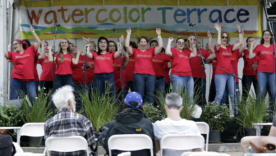 The Houston Show Choir performs at the Watercolor Terrace stage during The Woodlands Waterway Arts Festival Saturday, Apr. 13, 2019 in The Woodlands, TX. Photo: Michael Wyke, Houston Chronicle / Contributor / © 2019 Houston Chronicle