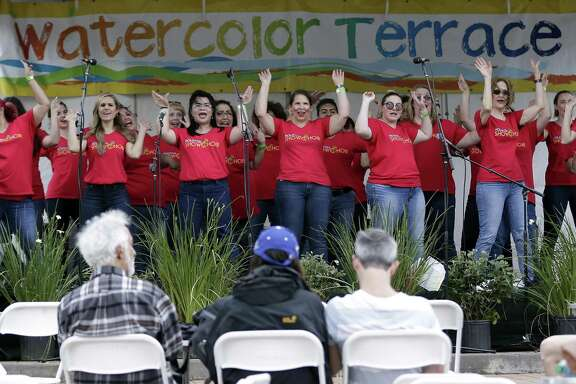 The Houston Show Choir performs at the Watercolor Terrace stage during The Woodlands Waterway Arts Festival Saturday, Apr. 13, 2019 in The Woodlands, TX.