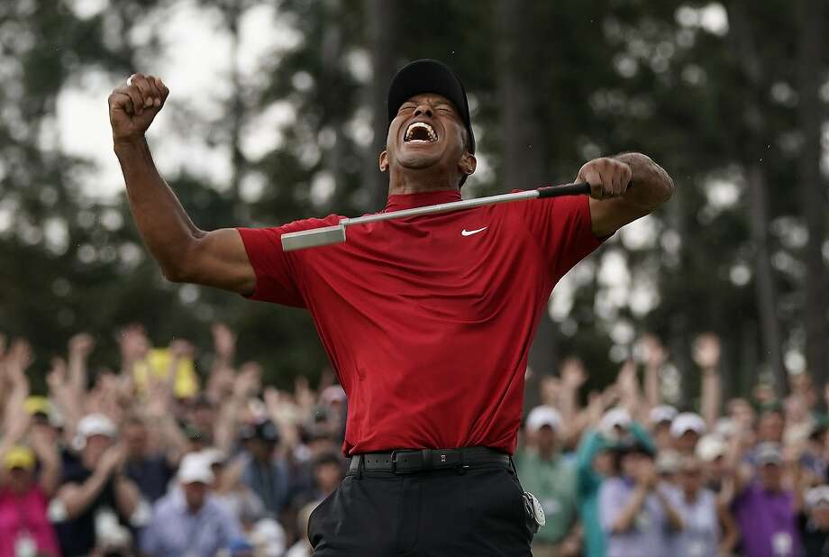 Tiger Woods reacts as he wins the Masters golf tournament Sunday, April 14, 2019, in Augusta, Ga. (AP Photo/David J. Phillip) Photo: David J. Phillip, Associated Press
