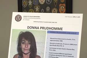 "League City police display information on Donna Prudhomme, one of two women found decades ago in the ""Texas Killing Fields""."