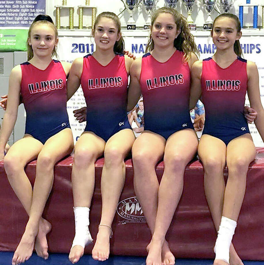 All four Level 7 and Level 8 gymnasts from Mid Illinois Gymnastics in Godfrey are moving on to the five-state regional set for April 26-28 in Bourbonnais, Illinois after qualifying at the recent Illinois State Championship Meet in De Kalb. The regional will include gymnasts from Illinois, Indiana, Michigan, Ohio and Kentucky. To qualify, gymnasts needed a minimum All-Around score of 34 or a 9.0 individual event score is needed. Local Level 8 winners included: Senior B - Sevasti Binolis sixth All-Around (37.0) fifth on vault (9.2), eighth on balance beam (9.25), Senior E - Paige Mouser fourth All-Around (36.85), first in vault (9.5), sixth in floor exercise (9.5) and seventh on balance beam (9.175); Junior B - Allison Jennings 36.05 All-Around score; In Level 7 Senior B, Madison Honke qualified in the floor exercise (9.2) and vault (9.05). From left: Madison Honke, Sevasti Binolis, Paige Mouser and Allison Jennings. Photo: Submitted Photo