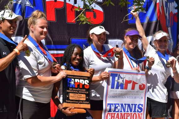 TheFort Bend Christian Academy tennis team won the TAPPS 5A girls state championship April 9-10 at the Waco Regional Tennis Center. The Eagles amassed14.5 points to hold off Austin Regents (13) and Lutheran South (10) for the title.