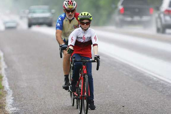In his second year, Joshua Tully of Daisetta upped his game by doing the longer 30-mile ride. He found a friend, Rick Chandler of Humble, who partnered up with him and kept an eye on him throughout the ride.