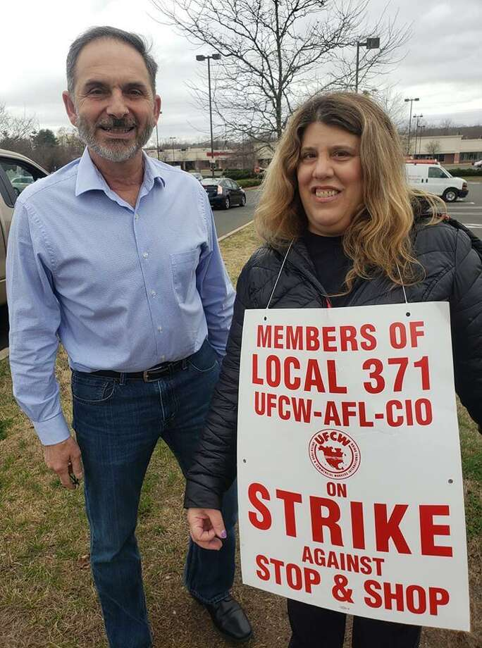 Rep. Dave Yaccarino, R-North Haven, with Cheryl Ann Cac, a Stop & Shop striker, Friday April 12, 2019 in North Haven Photo: Facebook Photo