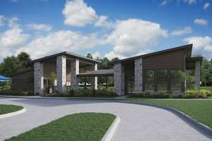 A rendering of the LakeHouse amenity complex in Trendmaker Homes new LakeHouse community in Katy.