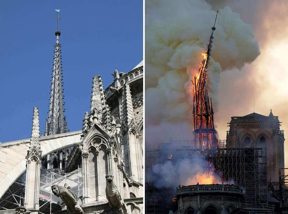 (FILES) This combination of file photographs shows the steeple Notre-Dame de Paris Cathedral - (L) taken on June 26, 2018 showing sculptures and the steeple and (R) the steeple of the landmark cathedral collapsing as the cathedral is engulfed in flames in central Paris on April 15, 2019. - A huge fire swept through the roof of the famed Notre-Dame Cathedral in central Paris on April 15, 2019, sending flames and huge clouds of grey smoke billowing into the sky. The flames and smoke plumed from the spire and roof of the gothic cathedral, visited by millions of people a year. A spokesman for the cathedral told AFP that the wooden structure supporting the roof was being gutted by the blaze. (Photo by Ludovic MARIN and Geoffroy VAN DER HASSELT / AFP)LUDOVIC MARIN,GEOFFROY VAN DER HASSELT/AFP/Getty Images Photo: Ludovic Marin, AFP/Getty Images