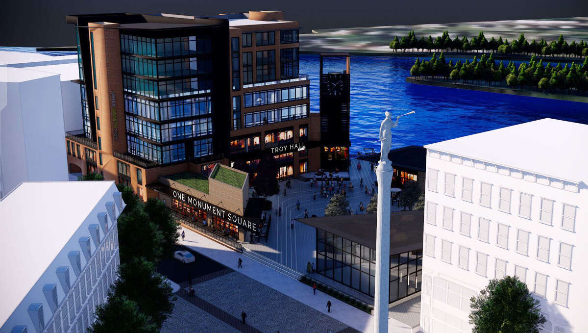 Renderings for the redevelopment of 1 Monument Square on Monday, April 15, 2019, in Troy, N.Y. (City of Troy)