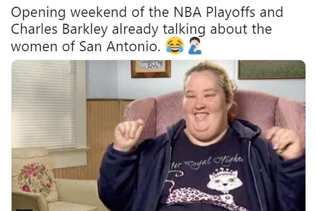 @AaronWagner_: Opening weekend of the NBA Playoffs and Charles Barkley already talking about the women of San Antonio.