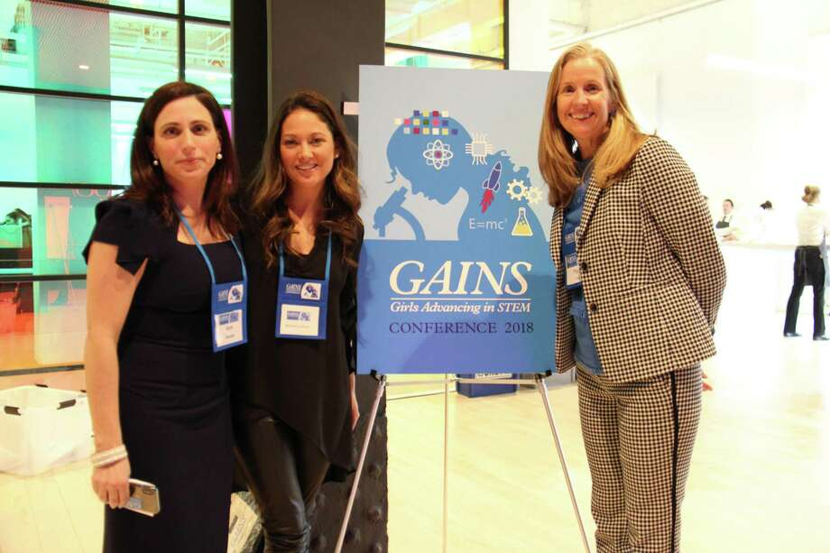 Director of STEM Initiatives Ann Decker and Head of School Molly King stand with Chief Operating Officer of Rent the Runway Maureen Sullivan, the keynote speaker of the 2018 GAINS Conference. The conference will receive a boost in funding partially from a $250,000 grant that Greenwich Academy was awarded from the Edward E. Ford Foundation Educational Leadership Grant. Photo: Contributed /