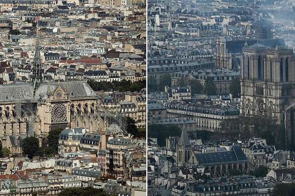 (FILES) This combination of files photogarphs created on April 15, 2019, shows (L) a general view of Notre-Dame cathedral in Paris from Montparnasse Tower on July 15, 2018, and (R) the same view of Notre-Dame cathedral as it burns after a fire broke out on April 15, 2019. - A major fire broke out at the landmark Notre-Dame Cathedral in central Paris sending flames and huge clouds of grey smoke billowing into the sky, the fire service said. The flames and smoke plumed from the spire and roof of the gothic cathedral, visited by millions of people a year, where renovations are currently underway. (Photo by Philippe LOPEZ and Thomas SAMSON / AFP)PHILIPPE LOPEZ,THOMAS SAMSON/AFP/Getty Images