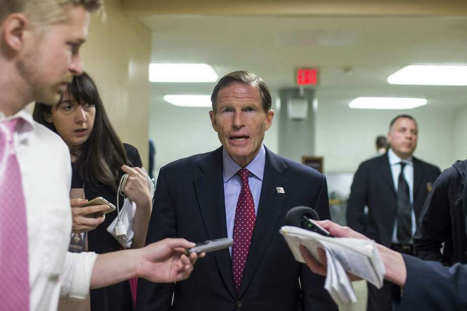 Sen. Richard Blumenthal, D-Conn., speaks in Washington earlier this month. Photo: Zach Gibson / Getty Images / 2019 Getty Images