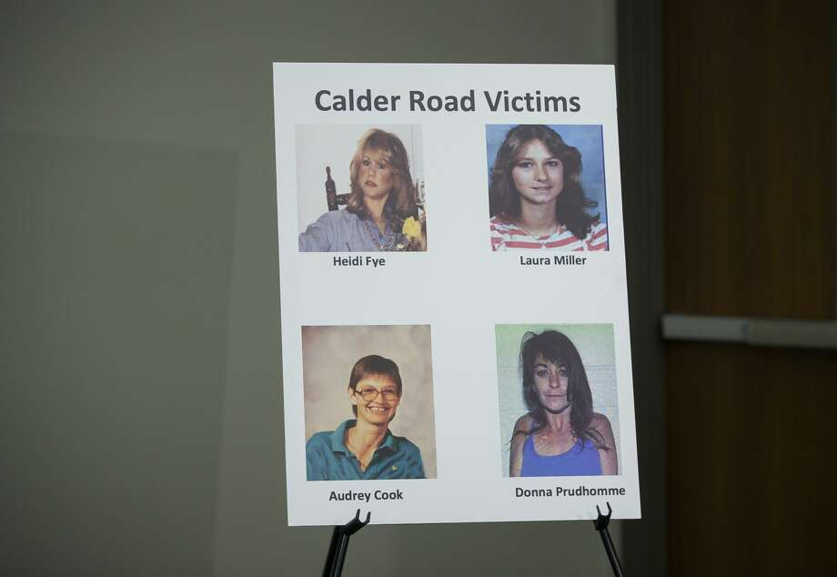 "Law enforcement officials announce the identities of two previously unidentified women who were found dead along with two other women between 1985 and 1991 in an area off of Calder Road in League City during a press conference at the League City Police Department, Monday, April 15, 2019. The victim known as ""Jane Doe"" was identified as Audrey Lee Cook, who police estimated was about 30 at the time her body was found in 1986. The other woman, known until now as ""Janet Doe,"" was Donna Prudhomme, about 34 when her body was found in 1991. Photo: Mark Mulligan/Staff Photographer"