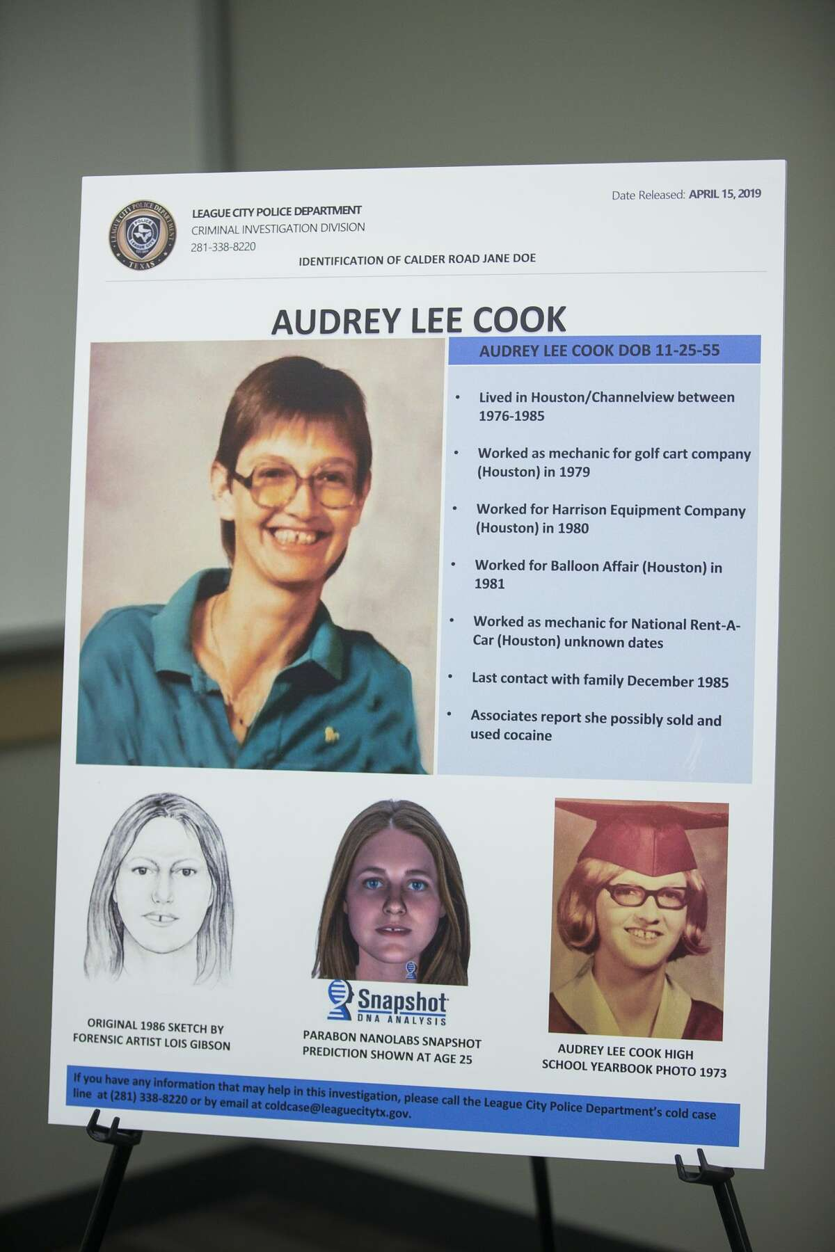 """Law enforcement officials announce the identities of two previously unidentified women who were found dead along with two other women between 1985 and 1991 in an area off of Calder Road in League City during a press conference at the League City Police Department, Monday, April 15, 2019. The victim known as """"Jane Doe"""" was identified as Audrey Lee Cook, who police estimated was about 30 at the time her body was found in 1986. The other woman, known until now as """"Janet Doe,"""" was Donna Prudhomme, about 34 when her body was found in 1991."""