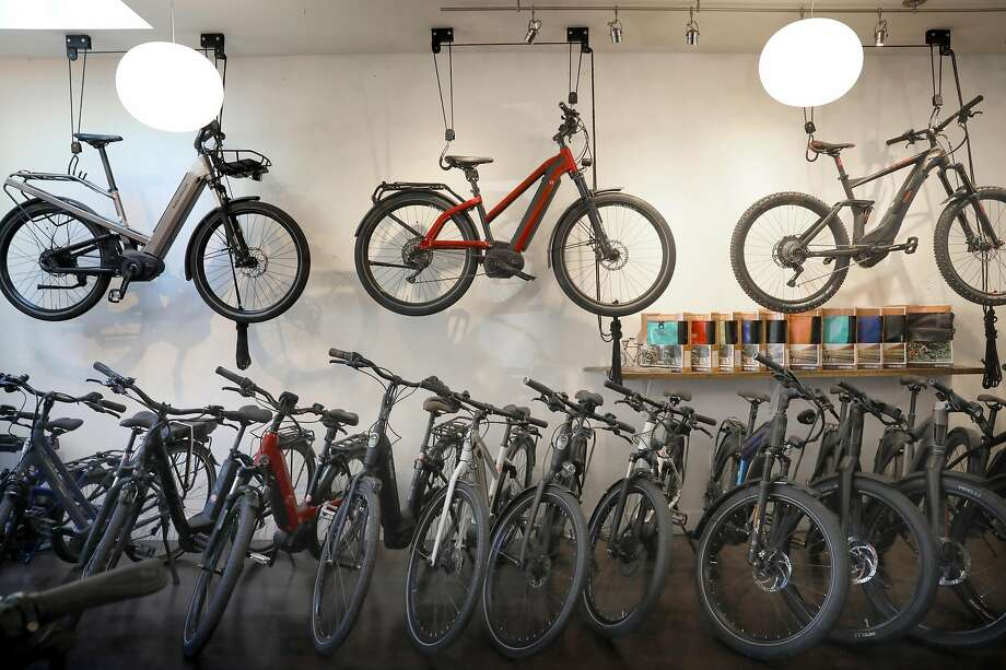 Electric bikes on display at the New Wheel store in Bernal Heights. Photo: Liz Hafalia / The Chronicle