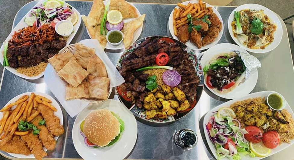 Food on display at Halal Grub in Colonie, N.Y.