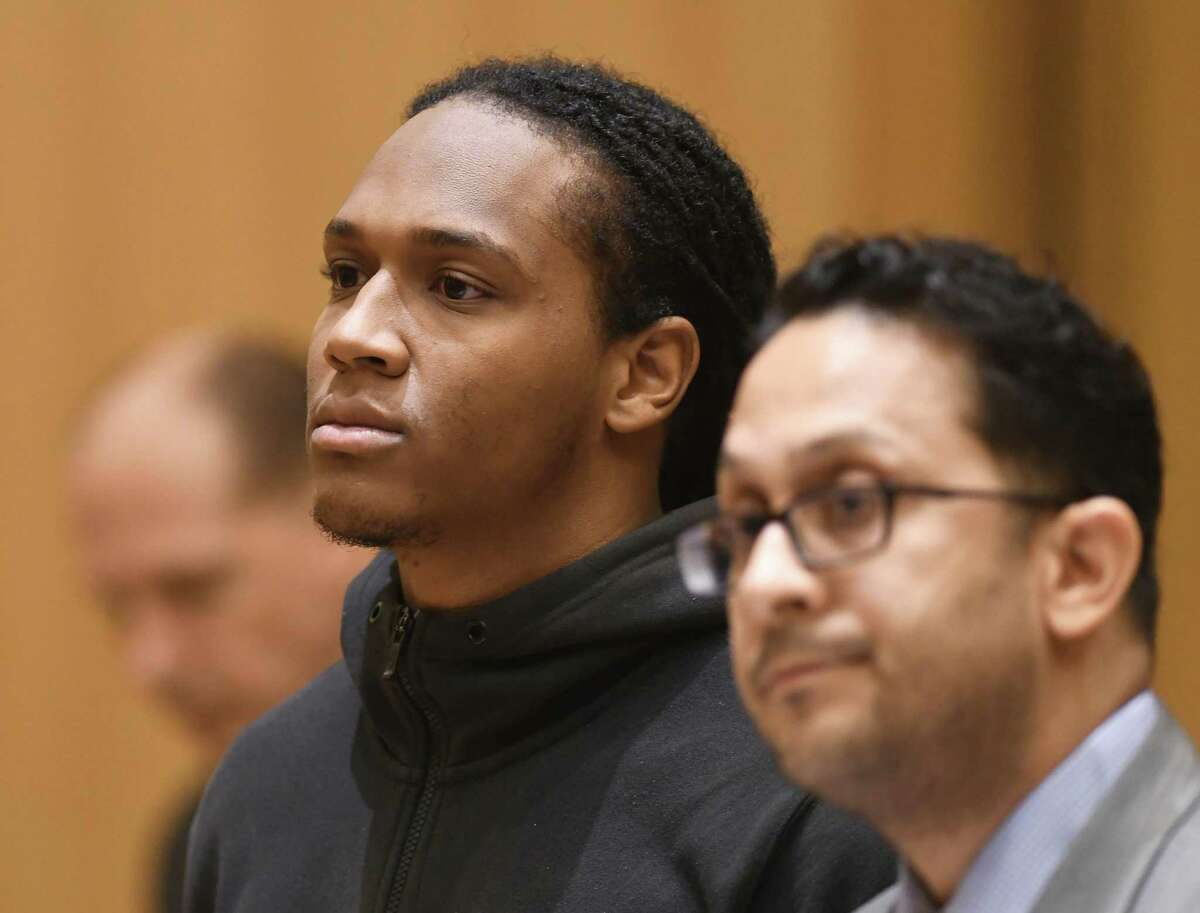Rashad Sellers, 27, of West Haven, is arraigned for a murder charge at the Connecticut Superior Court in Stamford, Conn. Monday, April 15, 2019. Stephon Walthrust, 26, of Queens, N.Y., was shot and killed while sitting in a car on Garden Street near Henry Street in the city's South End on the night of March 30. Stamford and Norwalk police officers, accompanied by SWAT officers at the ready, apprehended Sellers on April 12 in connection with the murder.