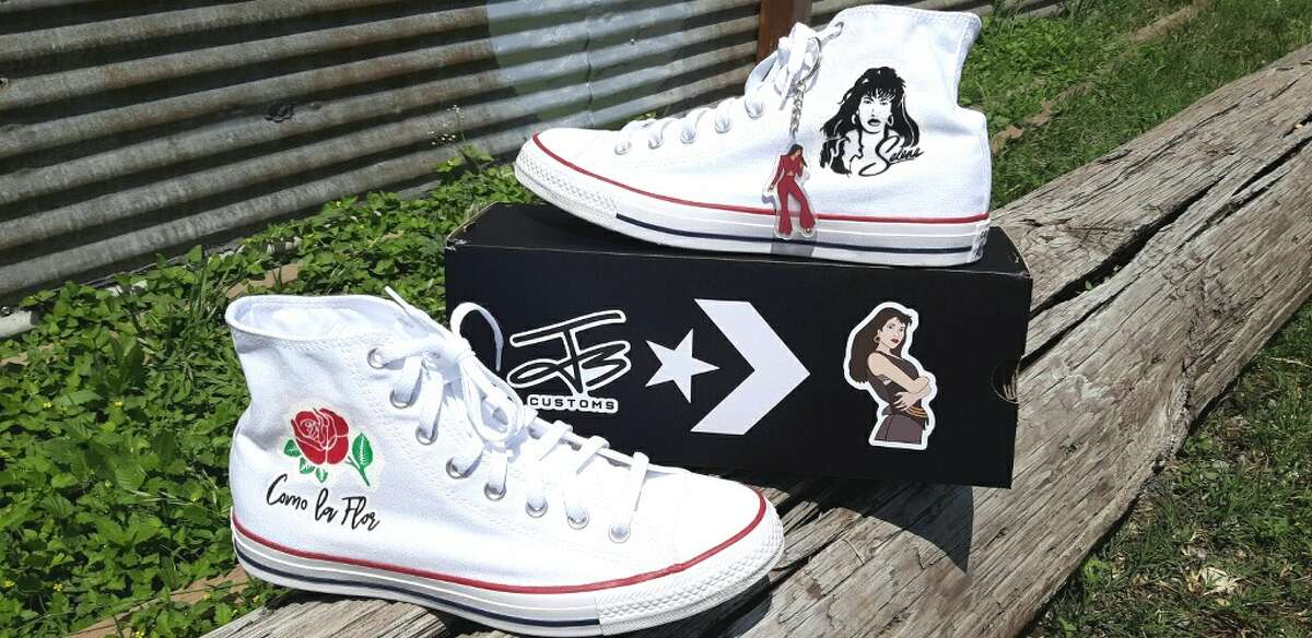 Juan Garcia III, owner of J3 Customs, created art fit for the Tejano Queen on a pair of Converse Chuck Taylor All Stars for a fan named Jorge Bernal. Garcia said Bernal contacted him with the idea to create a Selena-themed pair to wear to Fiesta de la Flor, the annual festival celebrating Selena's life and legacy, and Garcia was happy to get the job done.