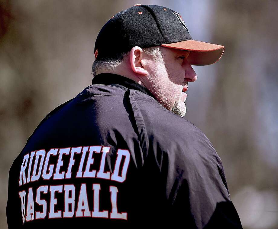 Ridgefield baseball coach Paul Fabbri. Photo: Catherine Avalone / Hearst Connecticut Media / New Haven Register