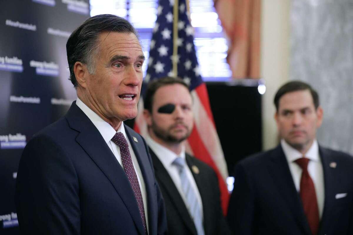 Sen. Mitt Romney, with Rep. Dan Crenshaw Sen. Marco Rubio.