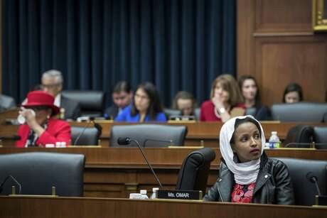 Rep. Ilhan Omar, D-Minn., on Capitol Hill in Washington, March 13, 2019. President Donald Trump used graphic imagery from the Sept. 11 attacks to attack Omar over Twitter on April 12, stoking a controversy that has been a focus of the conservative news outlets making the Minnesota Democrat into a political target.
