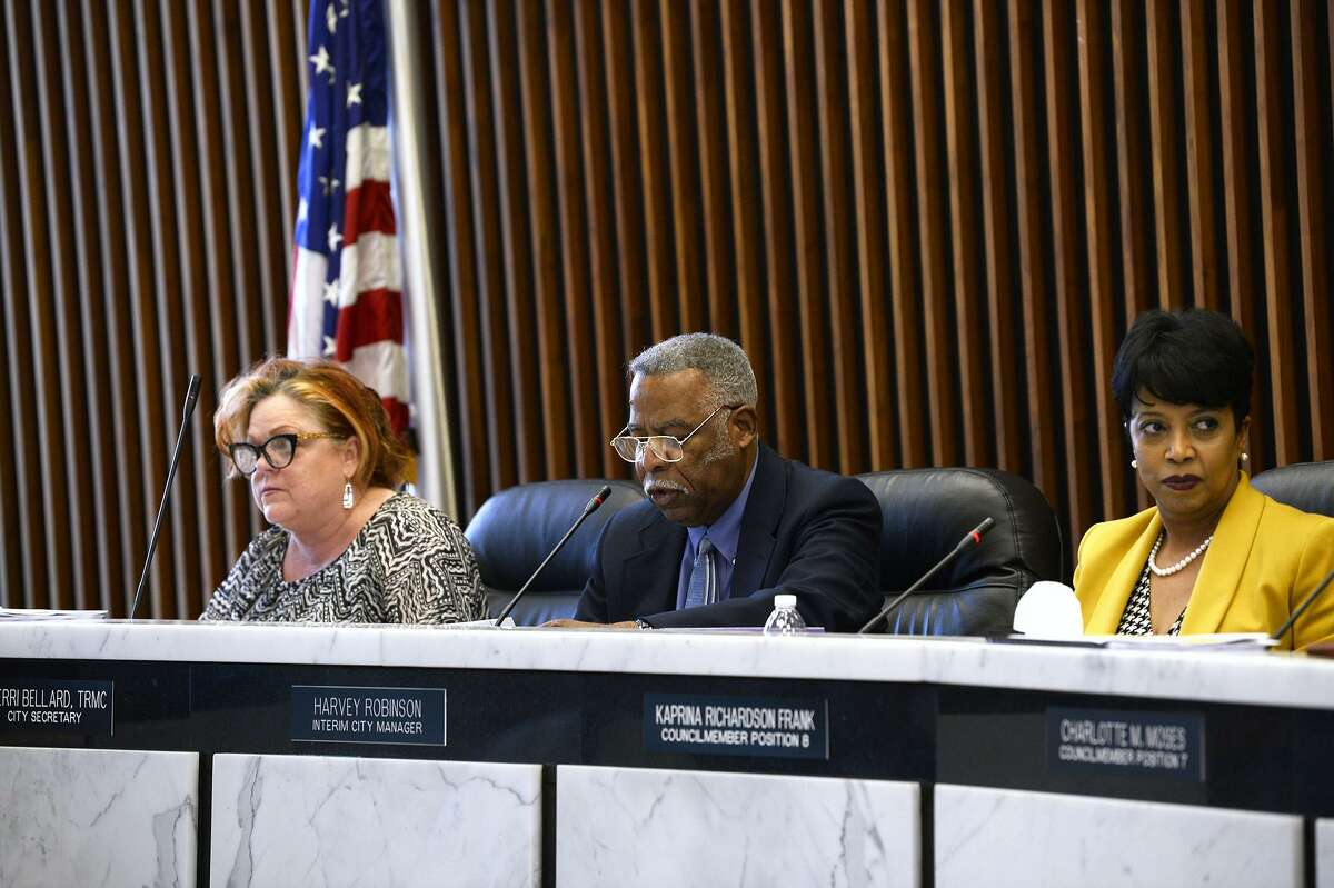 Port Arthur interim city manager Harvey Robinson, center, speaks during the meeting to name Tim Duriso as the city's new police chief. Duriso, a former Port Arthur police officer, will return to lead the department after former chief Patrick Melvin resigned in May. Photo taken Tuesday 8/14/18 Ryan Pelham/The Enterprise
