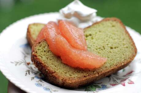 Avocado Pound Cake with grapefruit and whipped cream