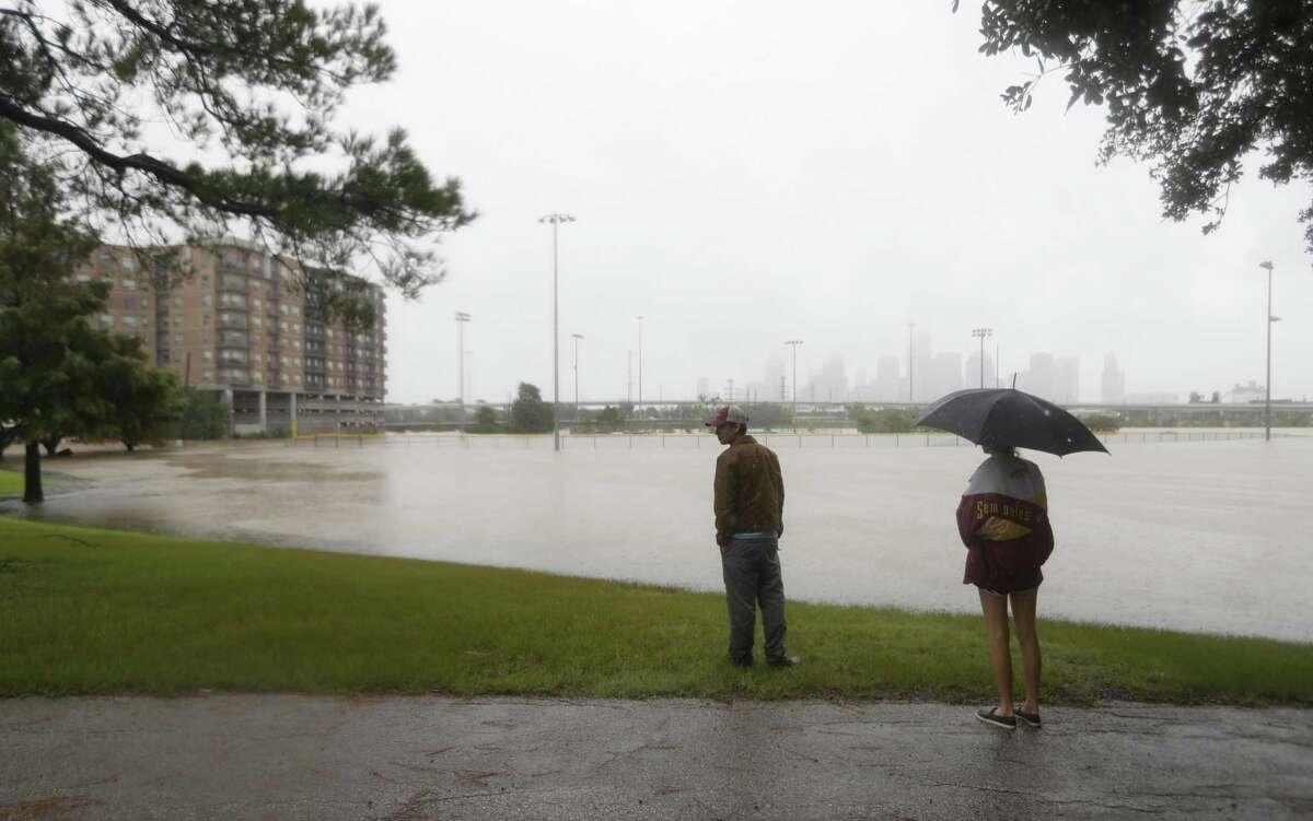 Water fills the baseball field area at Stude Park in the Heights, after heavy rain from Hurricane Harvey fell overnight, Sunday, Aug. 27, 2017, in Houston. ( Karen Warren / Houston Chronicle )