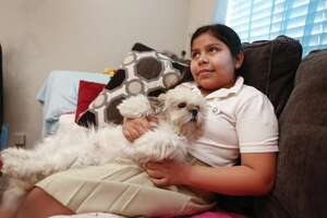 Laura Maradiaga, 11, holds her dog , Lalo, Thursday, April 11, 2019, in her Houston home.