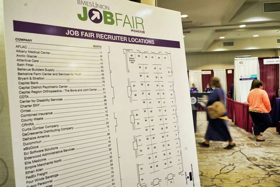 People make their way around to the various employers at the Times Union Job Fair at the Albany Marriott hotel on Monday, April 15, 2019, in Albany, N.Y.   (Paul Buckowski/Times Union) Photo: Paul Buckowski / (Paul Buckowski/Times Union)