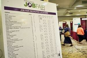 People make their way around to the various employers at the Times Union Job Fair at the Albany Marriott hotel on Monday, April 15, 2019, in Albany, N.Y.   (Paul Buckowski/Times Union)