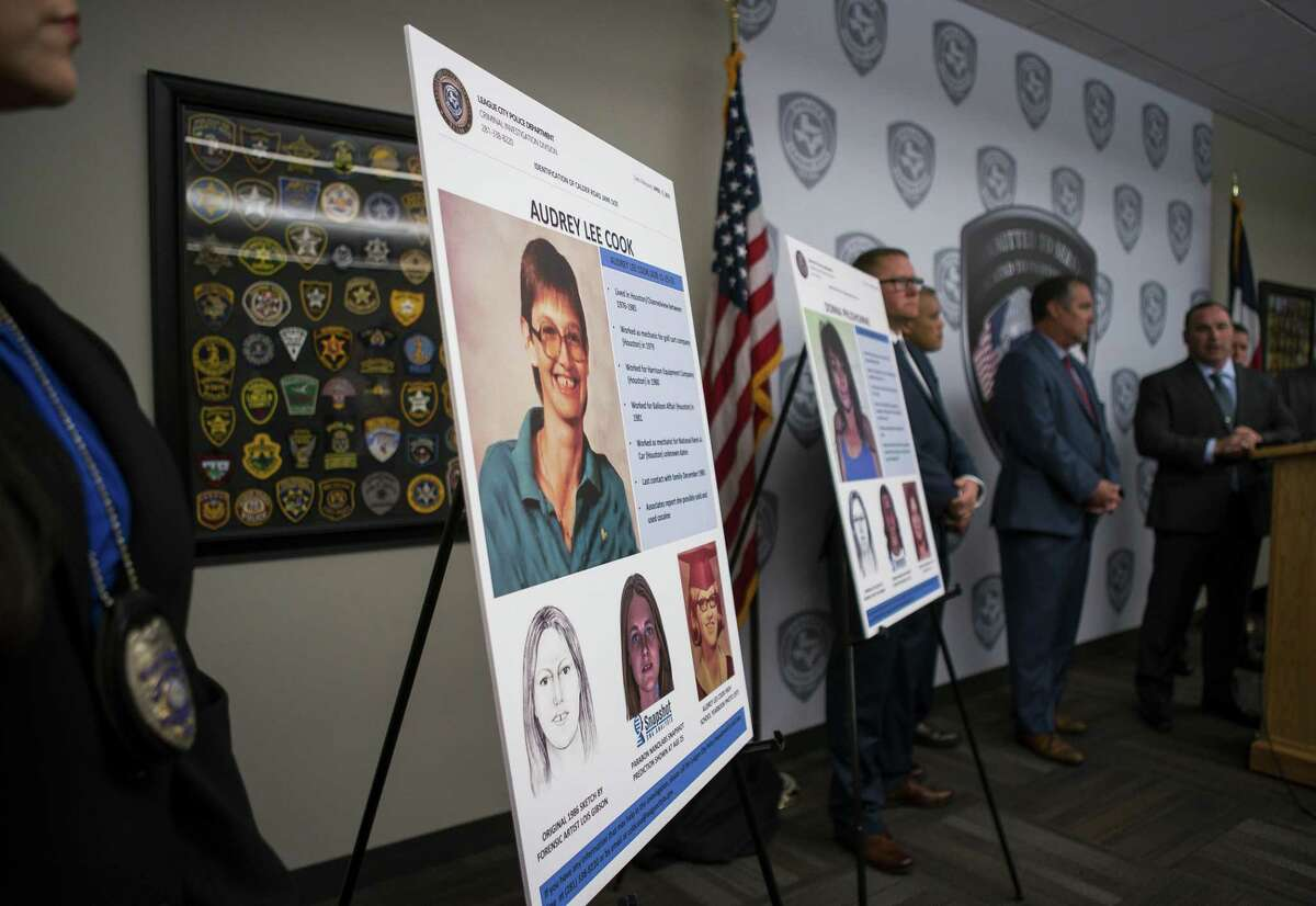 """League City Police Department Lt. Michael Buffington talks about the identities of two previously unidentified women who were found dead along with two other women between 1985 and 1991 in an area off of Calder Road in League City during a press conference at the League City Police Department, Monday, April 15, 2019. The victim known as """"Jane Doe"""" was identified as Audrey Lee Cook, who police estimated was about 30 at the time her body was found in 1986. The other woman, known until now as """"Janet Doe,"""" was Donna Prudhomme, about 34 when her body was found in 1991."""