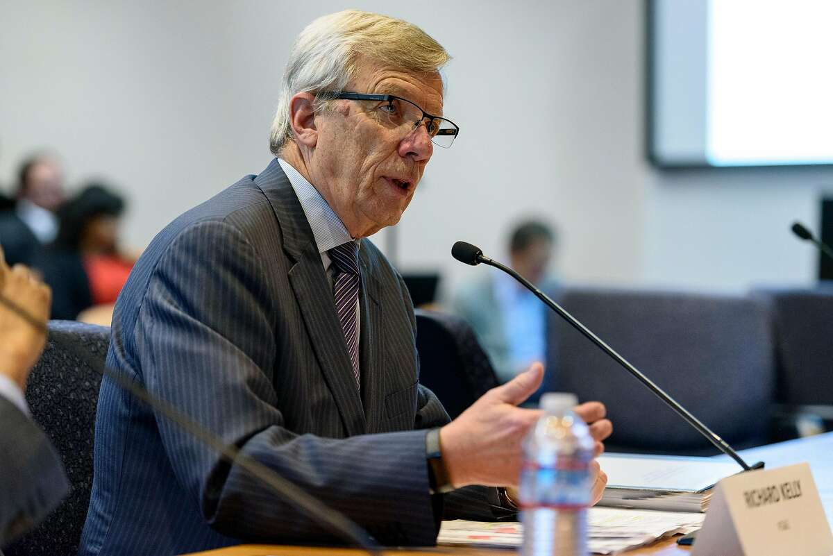 PG&E board member Richard Kelly speaks during a California Public Utilities Commission hearing about restructuring options for PG&E, in San Francisco, Calif, on Monday, April 15, 2019.