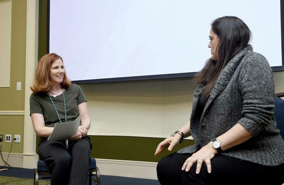 Dr. Sharon Young, left, plays a counselor and Felicia Michael, the patient, during a simulation for counseling and nursing graduate students at Western Connecticut State University to help train them to integrate counseling into nursing, April 15, 2019. Photo: Krista Benson / The News-Times Freelance