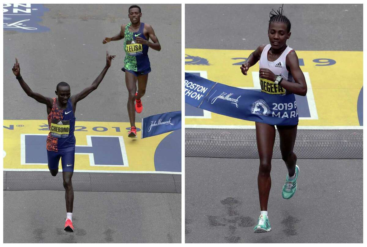 In this photo combo, Lawrence Cherono, left, of Kenya, breaks the tape in front of Lelisa Desisa, of Ethiopia, to win the men's division, and Worknesh Degefa, right, of Ethiopia, breaks the tape to win the women's division of the 123rd Boston Marathon, on Monday, April 15, 2019, in Boston. (AP Photo/Charles Krupa)