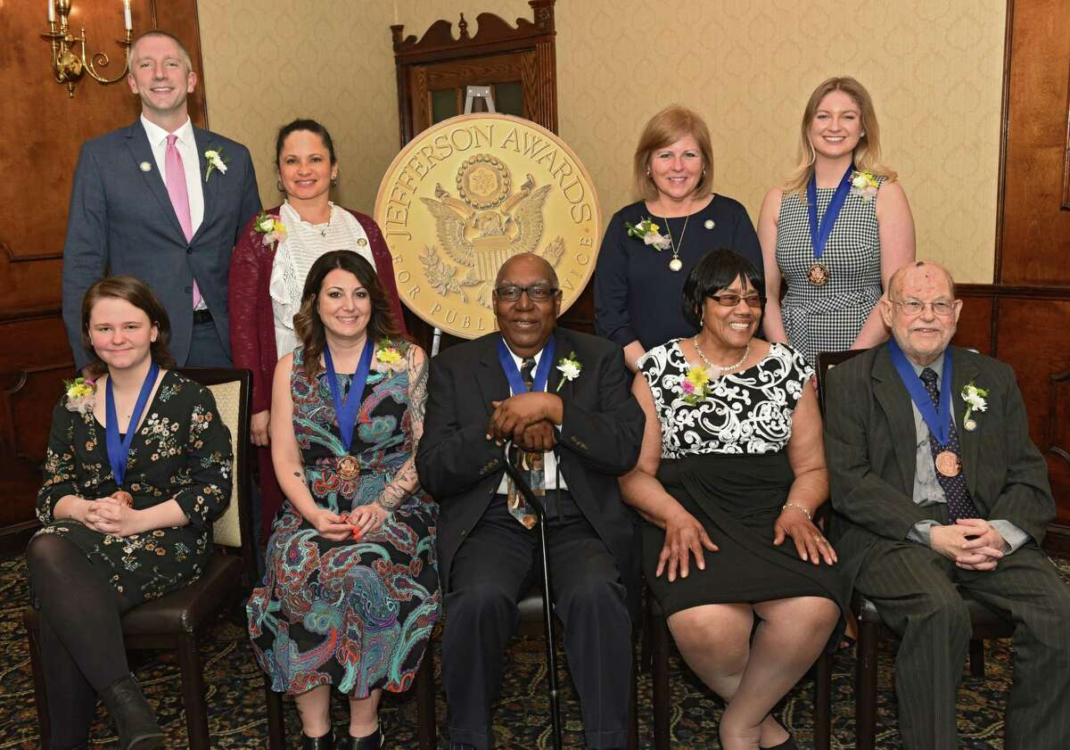 Finalist and medalist for the annual Jefferson Awards event at the Century House on Monday, April 15, 2019 in Latham, N.Y. Front row from left, Katie Hemsley, Renee Fahey, Aaron Carter, Clara Phillips, Selig Corman. Back row from left, Todd Ritschdorff, Tammy Ellis-Robinson, M. Katherine Kennedy and Rachael Murray. (Lori Van Buren/Times Union)