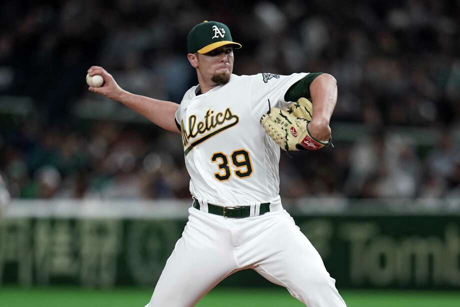A's closer Blake Treinen has a 0.87 ERA after posting a 0.78 figure last season. The only run he has allowed this year came on a ninth-inning bases-loaded walk to Jose Altuve that gave the Astros a 9-8 win at Minute Maid Park on April 7. Photo: Masterpress, Stringer / Getty Images / 2019 Getty Images