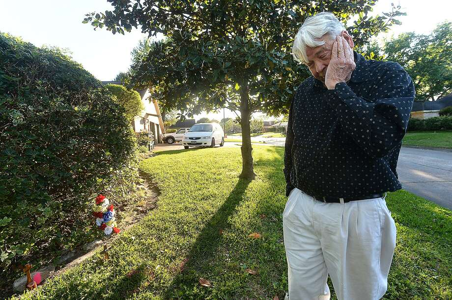 "Truitt Nolan looks over the area at a neighbor's lawn on Madrid Drive where he knelt down to comfort Anthony Wilson in his final moments after hearing gun shots and Wilson's cries for help. Nolan says he held onto his arm and told him to stay with him, but could see he was fading. ""He just bled out,: says Nolan, as he reflects on the events of last Thursday night. Three teens and a fourth related suspect were taken into custody Sunday and charged in crimes related to Wilson's death. Photo taken Monday, April 15, 2019 Kim Brent/The Enterprise Photo: Kim Brent / The Enterprise / BEN"