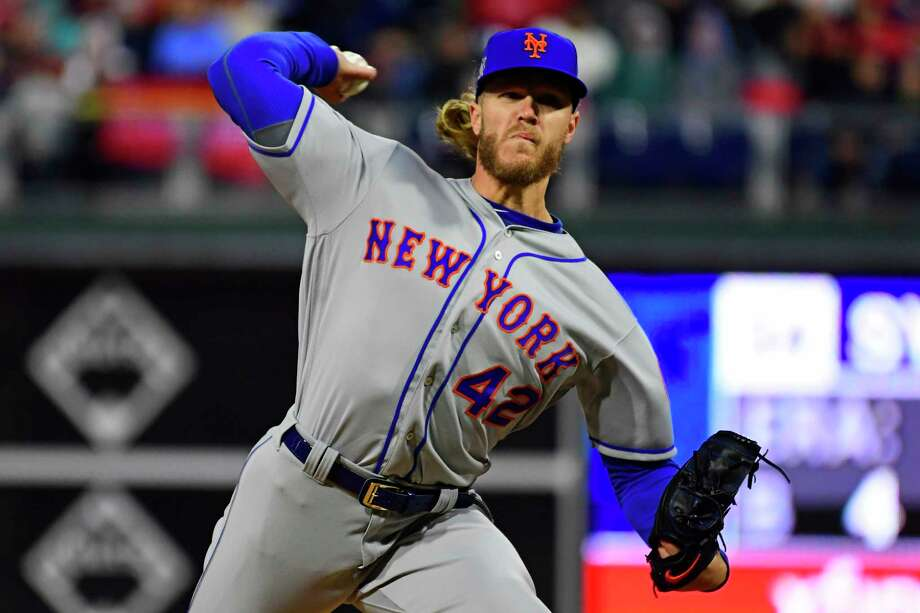 PHILADELPHIA, PA - APRIL 15: Noah Syndergaard #34 of the New York Mets pitches against the Philadelphia Phillies during the first inning at Citizens Bank Park on April 15, 2019 in Philadelphia, Pennsylvania. All players are wearing the number 42 in honor of Jackie Robinson Day. (Photo by Corey Perrine/Getty Images) Photo: Corey Perrine / 2019 Getty Images