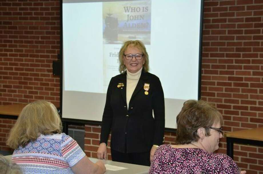 Kathleen Ripley speaks during the April meeting of the John Alden Chapter of Daughters of the American Revolution. (Photo provided)