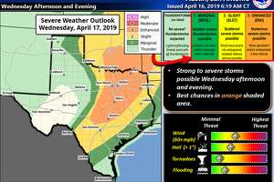 "Tornadoes, ""very large"" hail and severe wind is possible Wednesday in South Central Texas, according to the National Weather Service."