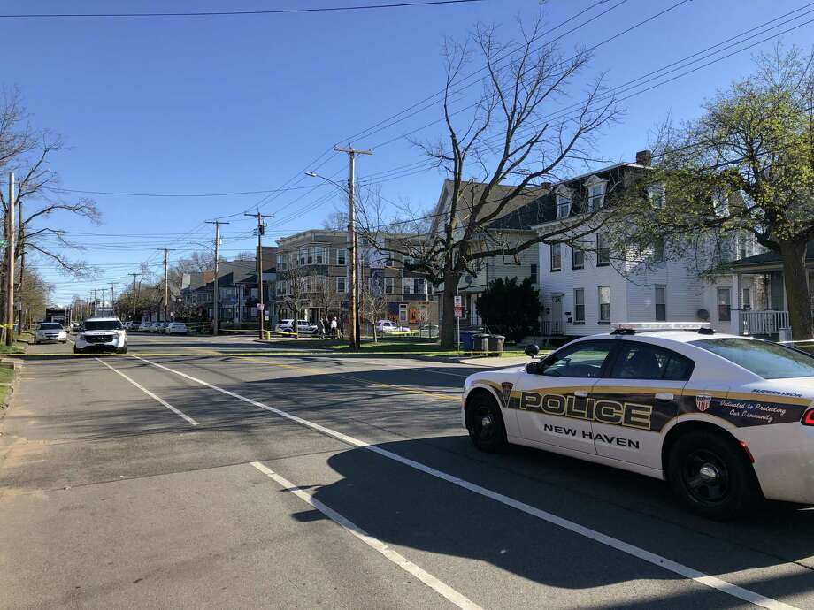 Connecticut State Police are investigating an officer-involved shooting on Dixwell Avenue in New Haven on Tuesday, April 16, 2019. Part of the road is closed because of a police investigation. Photo: Ben Lambert /Hearst Connecticut Media