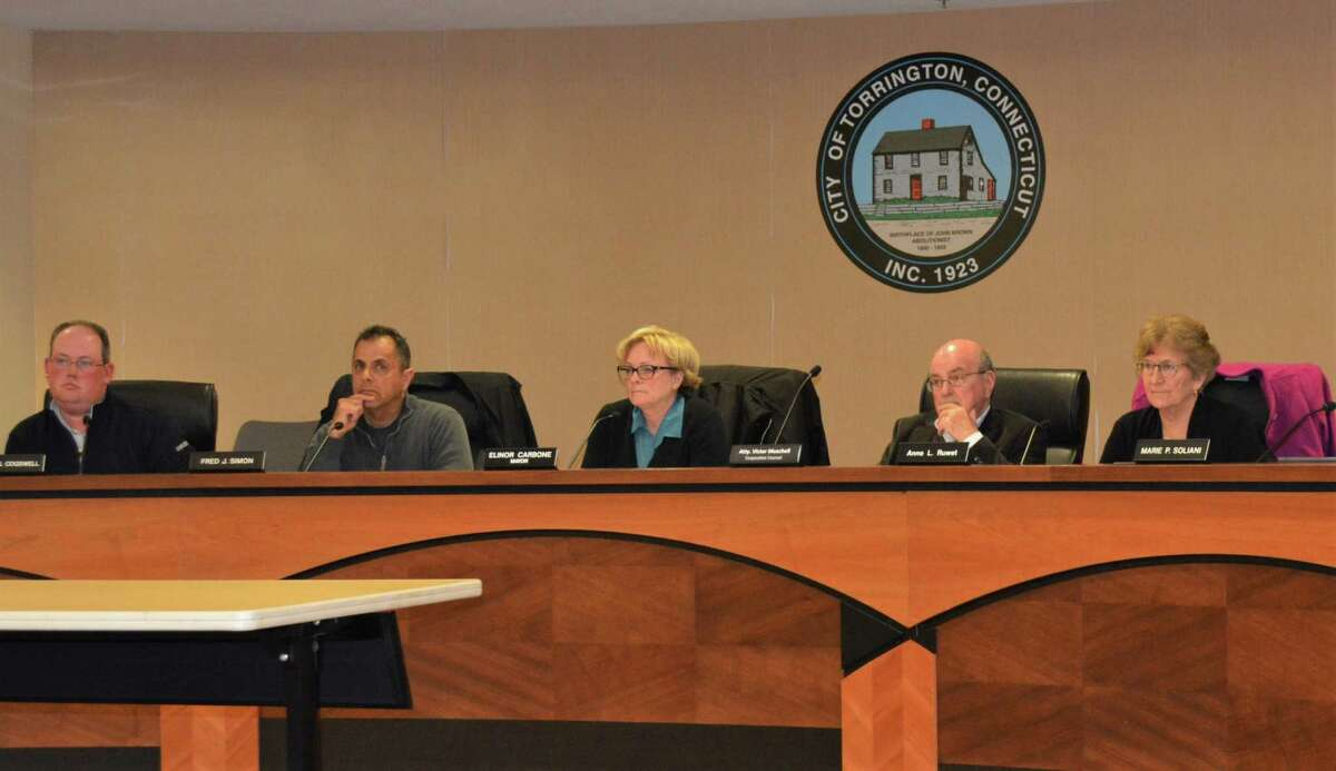 Torrington Ordinance Committee Chairman Gregg Cogswell, far left, presented the proposed regulation to the City Council in early April.