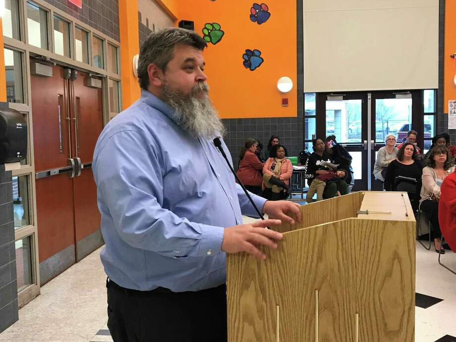 Matt Wilcox speaks at a Board of Education meeting on April 8, 2019. Photo: Brian Zahn/Hearst Connecticut Media